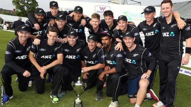 New Zealand with the tri-series trophy