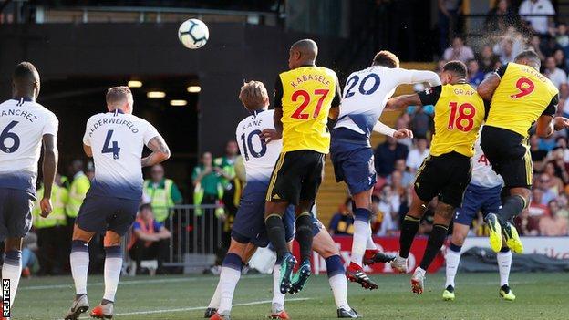 Troy Deeney scores against Tottenham