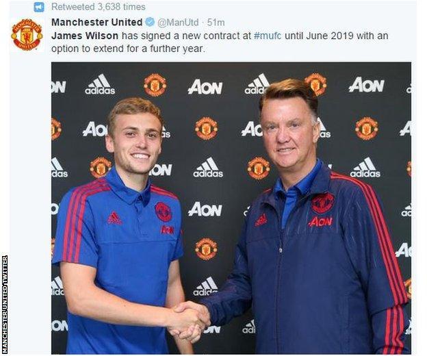 Manchester United striker James Wilson (left) and boss Louis van Gaal