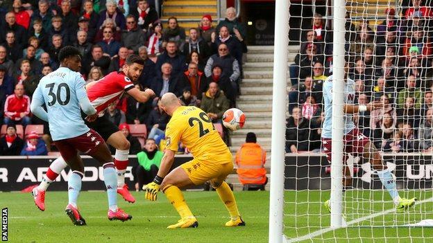 Shane Long scores for Southampton against Aston Villa