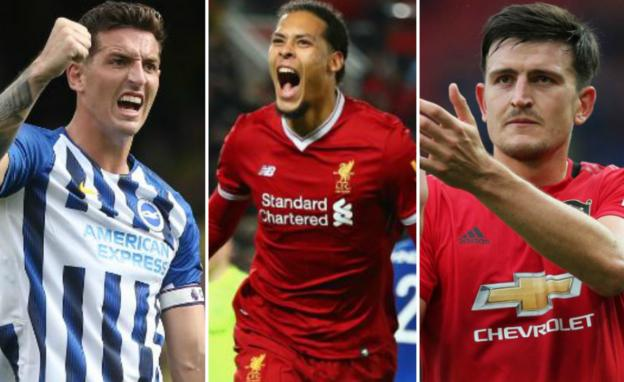 Brighton's Lewis Dunk, Liverpool's Virgil van Dijk and Harry Maguire of Manchester United