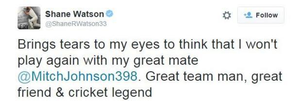 Shane Watson on Twitter