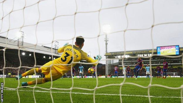 Ederson saves the injury-time penalty that could have condemned Manchester City to their first defeat of the season.