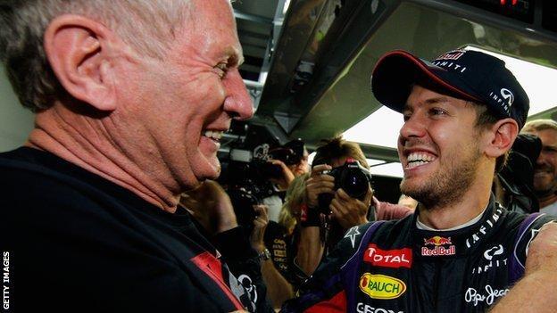 Sebastian Vettel celebrates the 2013 world title with Red Bull consultant Dr Helmut Marko