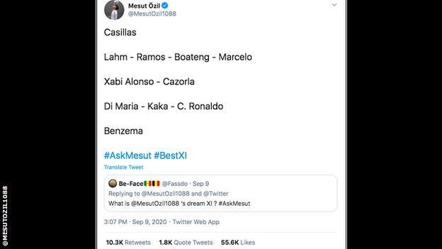 Ozil's dream XI: Casillas, Lahm, Ramos, Boateng, Marcelo, Xabi Alonso, Cazorla, Di Maria, Kaka, C. Ronaldo, Benzema