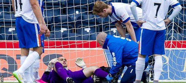 Goalkeeper Jamie MacDonald was injured in Kilmarnock's win over St Johnstone