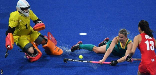 Maddie Hinch and GB team-mate Sam Quek in action against Australia in their opening match of the Rio 2016 Olympics