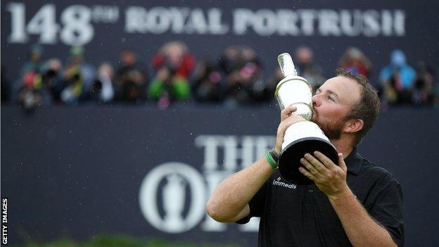 Northern Ireland Shane Lowry celebrates winning the Open last year