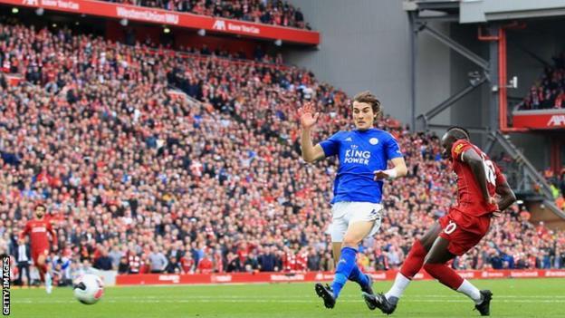 Sadio Mane scores against Leicester