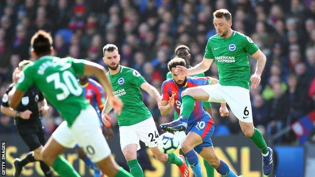 Dale Stephens in action for Brighton at Crystal Palace