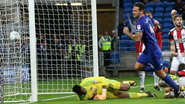 Sean Morrison opens the scoring for Cardiff City against Sheffield Utd