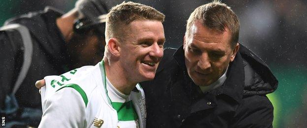 Celtic's Jonny Hayes and Brendan Rodgers celebrate