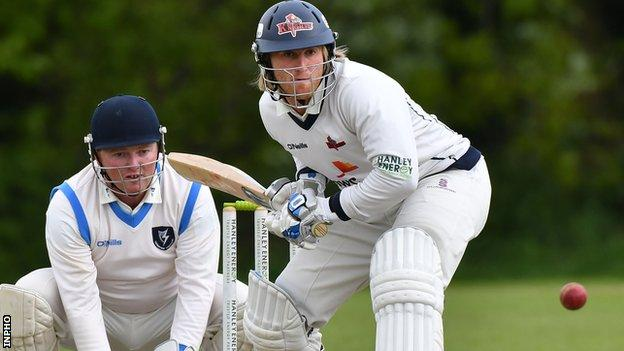 Northern Knights batsman Jamie Holmes prepares to play a shot against Leinster Lightning at Stormont