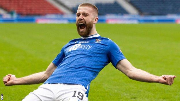 St Johnstone scorer Shaun Rooney celebrates
