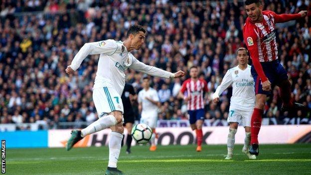 Cristiano Ronaldo scores for Real Madrid against Atletico Madrid