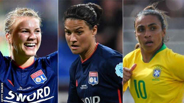 Ada Hegerberg of Norway (left), Germay's Dzsenifer Marozsan (centre) and Brazil forward Marta (right) are the finalists for Best Fifa Women's Player
