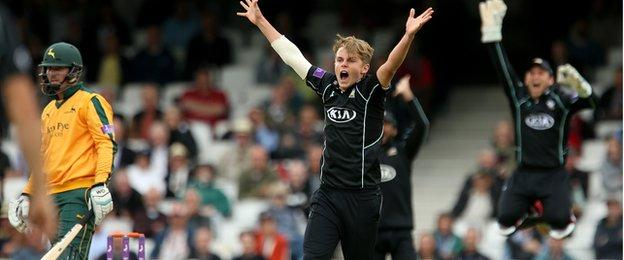Sam Curran takes his second wicket in as many balls to remove Brendan Taylor