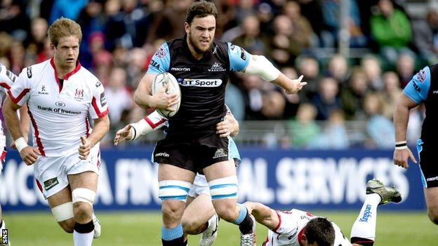 Adam Ashe carries for Glasgow against Ulster