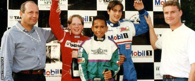 Ron Dennis, Lewis Hamilton and David Coulthard