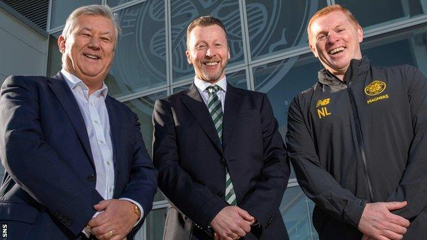 Hammond, centre, will work alongside chief executive Peter Lawwell and manager Neil Lennon at Celtic