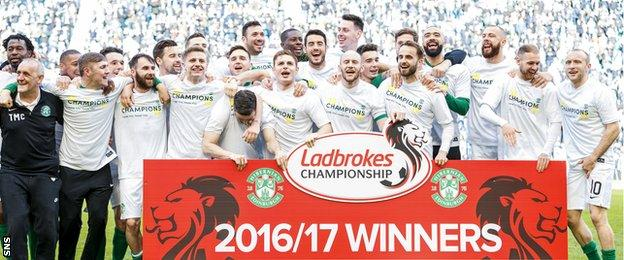 Hibernian celebrate clinching the Scottish Championship title