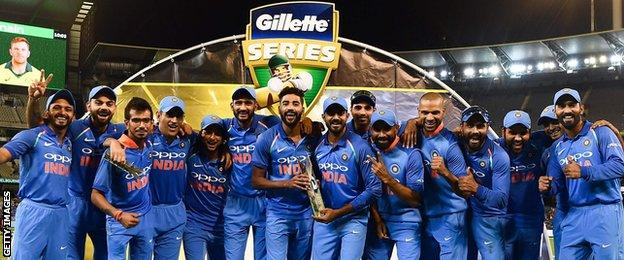India with the ODI series trophy
