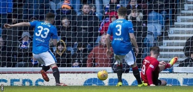 Kilmarnock striker Kris Boyd scores against Rangers
