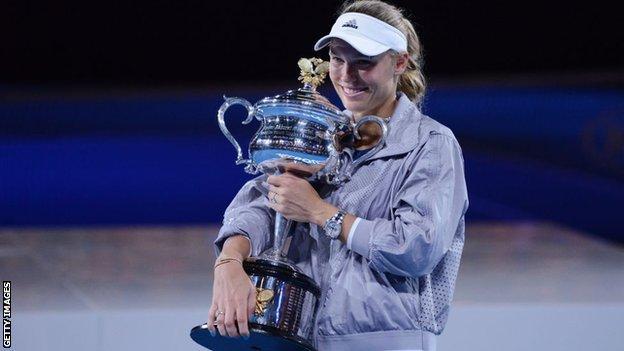 Caroline Wozniacki with the Australian Open trophy in 2018