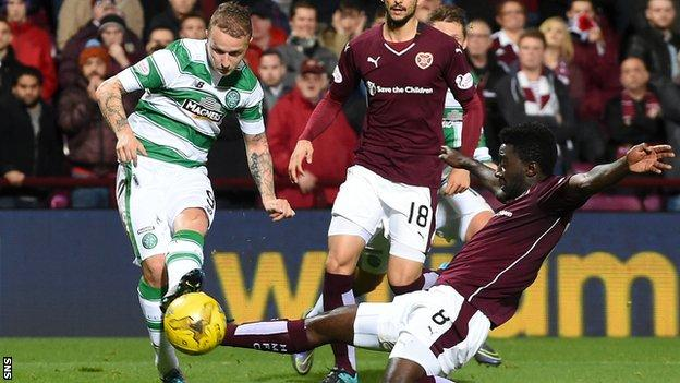 Leigh Griffiths scores for Celtic against Hearts