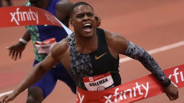 Christian Coleman comes close to breaking 60m world record