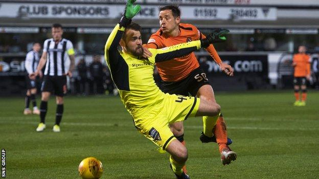 Peter Pawlett attempts to add to his opening goal at East End Park