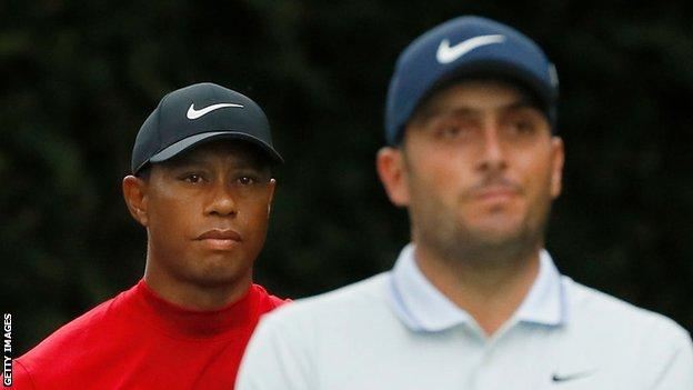 Tiger Woods and Francesco Molinari during the final round of the 2019 Masters