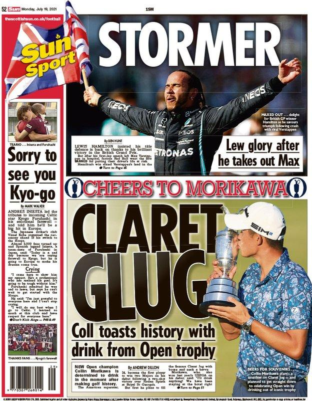 The back page of the Scottish Sun on 190721