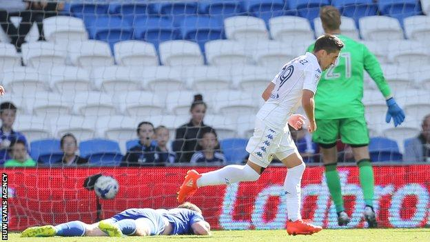 Pablo Hernandez turns away after scoring at Cardiff for Leeds