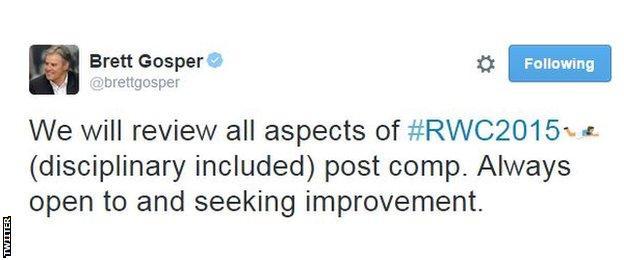 A tweet by World Rugby CEO Brett Gosper