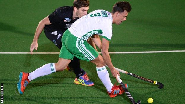 Ireland's Matthew Nelson comes under pressure in the Johannesburg play-off against New Zealand