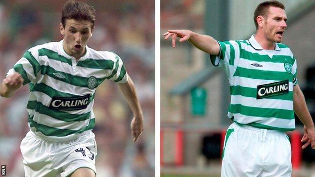 Celtic midfielder Liam Miller and Celtic defender Stephen McManus
