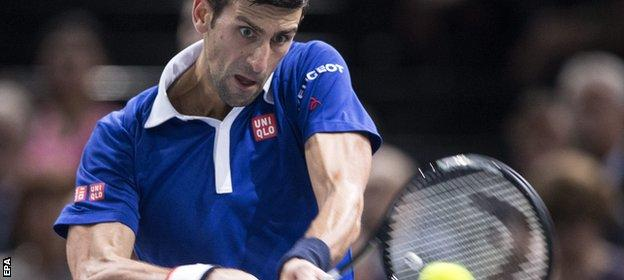 Novak Djokovic in semi-final action against Stan Wawrinka
