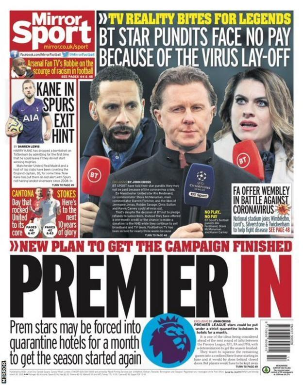 Mirror back page on Monday, 30 March