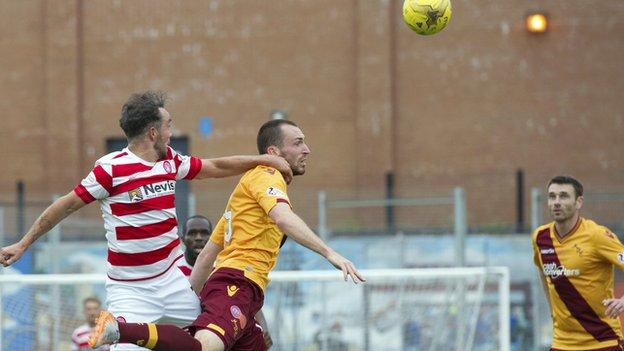 Dougie Imrie (left) headed the only goal of the game for Hamilton