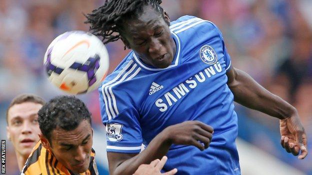 Romelu Lukaku in action for Chelsea against Hull in 2013