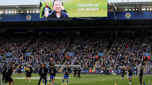 The King Power Stadium during Leicester's first home game since Vichai Srivaddhanaprabha's death.