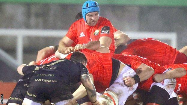 Tadhg Beirne directs a Munster maul at The Sportsground