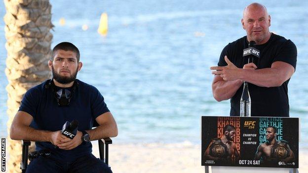 Khabib Nurmagomedov and Dana White at the pre-fight press conference for UFC 254