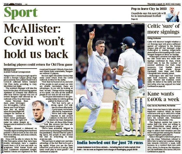 The back page of the Scottish edition of The Times on 260821