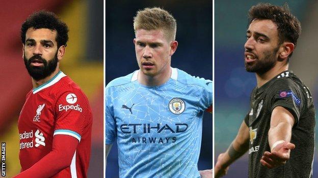 Liverpool'dan Mohamed Salah, Manchester City'den Kevin de Bruyne, Manchester United'dan Bruno Fernandes