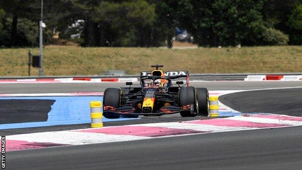 Max Verstappen runs wide into turn 2 of the French Grand Prix