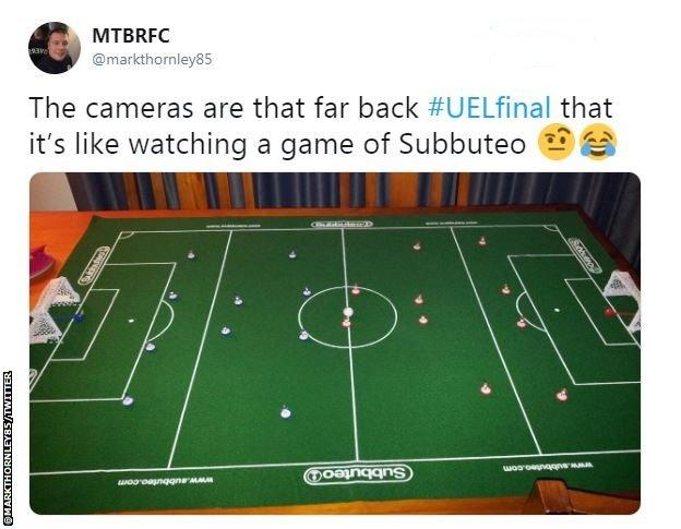 Viewers weren't impressed with the camera angle during the Europa League final, comparing it to Subbuteo