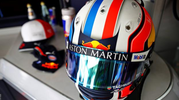 Pierre Gasly with a very patriotic helmet as he races in his home country