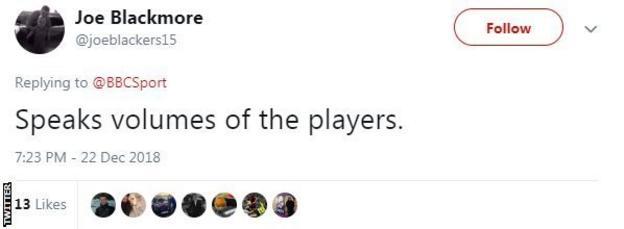 Tweet from Joe Blackmore saying 'Speaks volumes of the players'